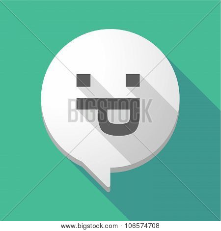 Long Shadow Comic Balloon With A Sticking Out Tongue Text Face