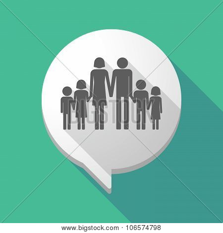 Long Shadow Comic Balloon With A Large Family  Pictogram