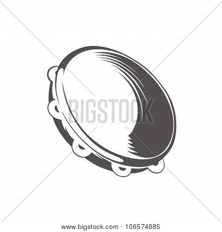 hand drawing style black and white silhouette of tambourine. vector illustration