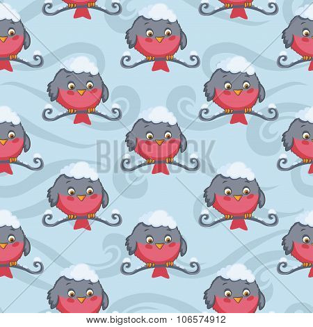 Bird red bullfinch vector seamless pattern. Winter background.