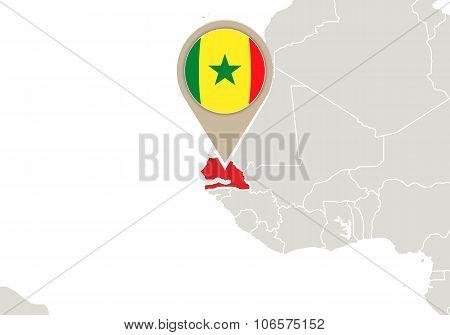 Senegal On World Map