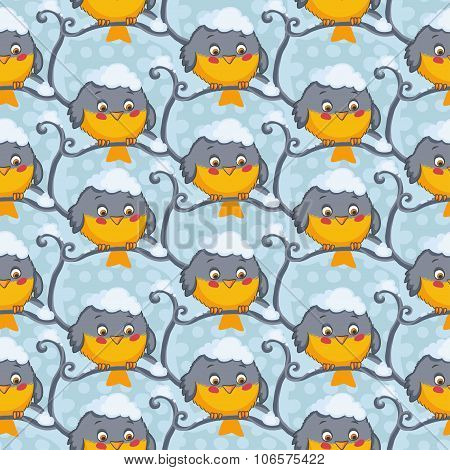 Bird tomtit vector seamless pattern. Winter background.
