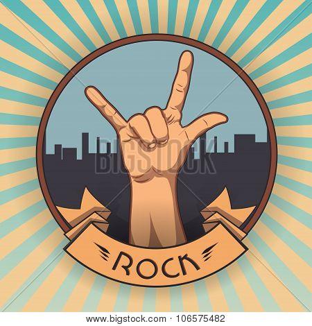 Hand in rock n roll sign. retro rock poster. vintage vector illustration