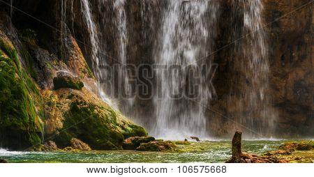 Large waterfall at Plitvice lakes. Croatia