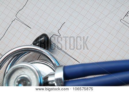 Stethoscope And Ecg Concept Of Medical Diagnostics