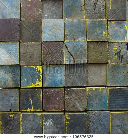 Stacked Tiled Wooden Blocks In Multiple Color Background