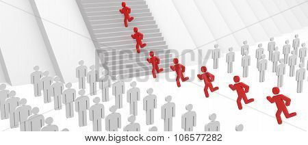 3D People Walking On Stairs To Success