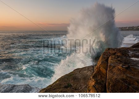 sunrise seascape with crashing wave