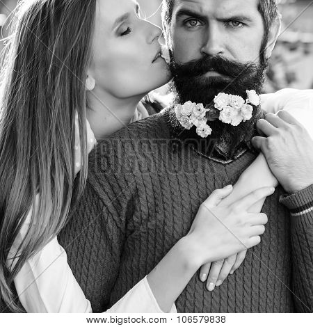 Girl And Man With Flowers On Beard