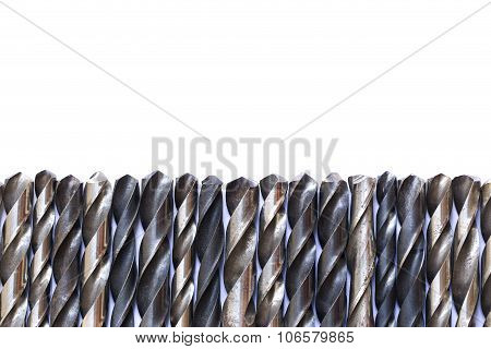 Old Rusty Drill Bits Isolated On White Background