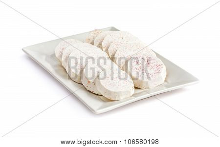 Taro Slice On Rectangle Dish Isolated In White Background