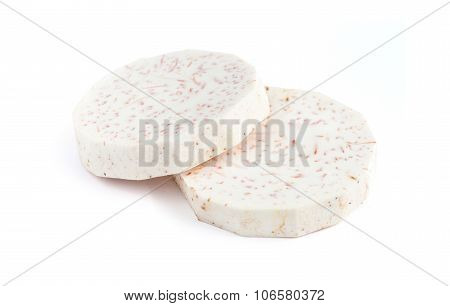 Taro slice isolated on white background