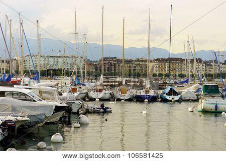 GENEVA, SWITZERLAND - SEPTEMBER 14, 2014: view on Lake Geneva. Lake Geneva iis a lake on the north side of the Alps, shared between Switzerland and France.