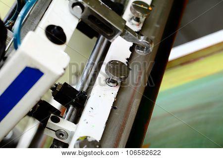 Detail Of Silk Screen Printing Machine In The Workshop