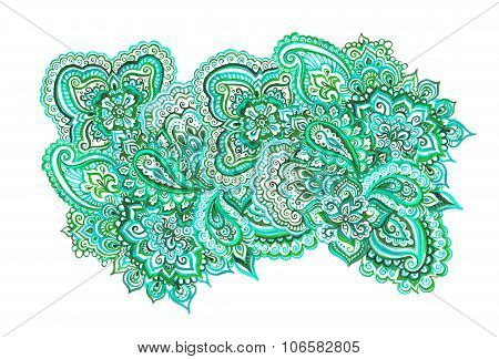 Green element of indian ornament