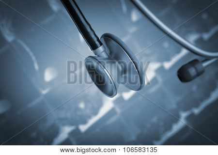 Stethoscope On The Background Of Ct Image
