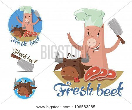 Pig-butcher With Fresh Beef