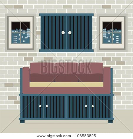 Cabinet Seat With Wall Cabinet.