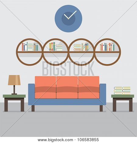 Sofa With Modern Bookcase.