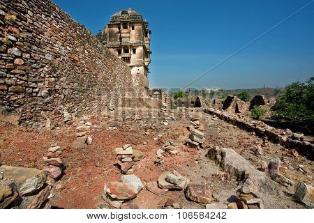 Stone Wall And Tower Of The Historical Chittorgarh Fort In India. It Is An Unesco World Heritage Sit
