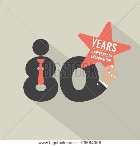 80 Years Anniversary Typography Design.