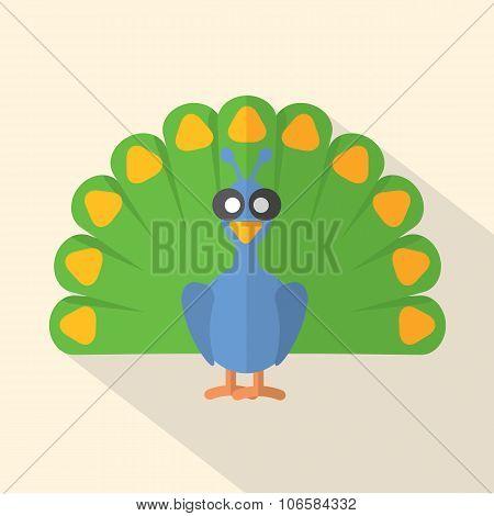 Flat Design Peacock Icon.