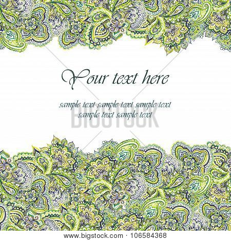 Green greeting card. Floral indian ornamental design