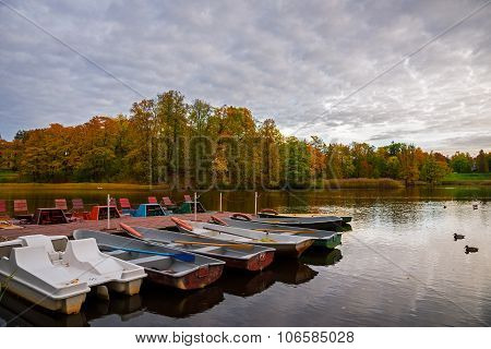 Boats On The Park Pond.