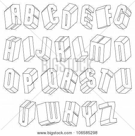 Geometric Black And White 3D Font Made With Thin Lines.