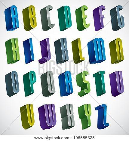 3D Colorful Letters Alphabet.