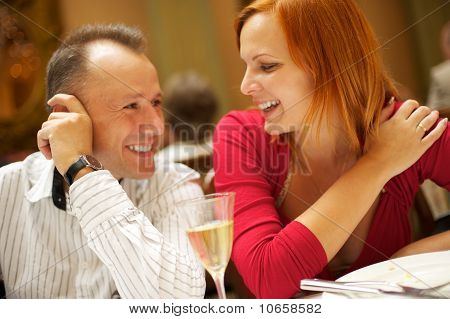 Happy couple in a restaurant