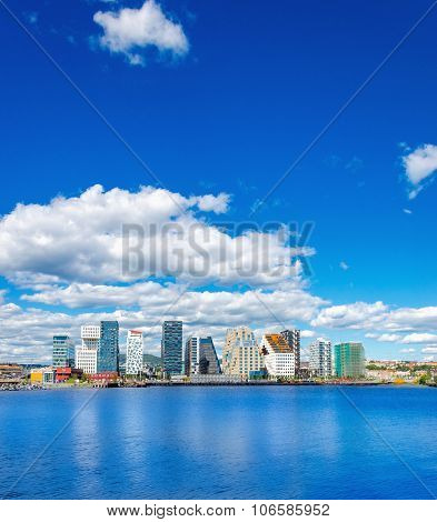 Modern business district in Oslo bay, Norway