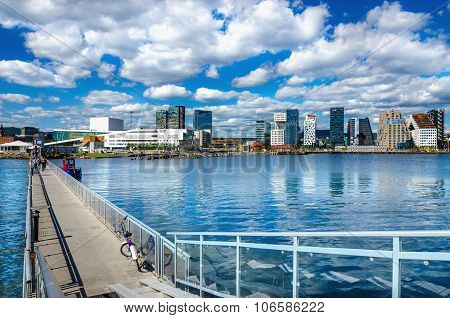 The modern business district in Oslo, Scandinavia