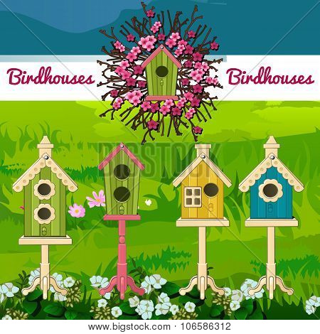 Five different birdhouses on a landscape background