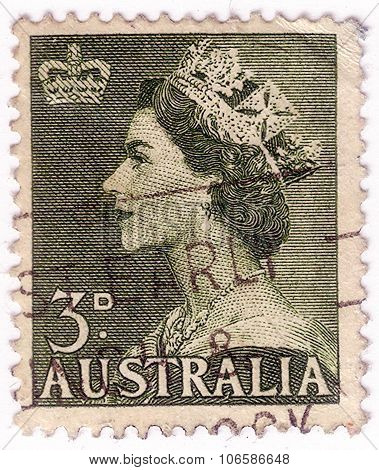 Australia - Circa 1953: A Stamp Printed In Australia Shows Queen Elizabeth Ii, Circa 1953