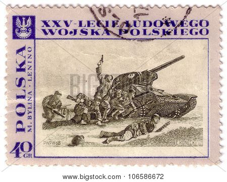 Poland - Circa 1968: A Post Stamp Printed In Poland Shows Tank Attack, Devoted To The 25Th Anniversa