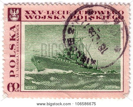 Poland-circa 1968 : A Post Stamp Printed In Poland Shows Warship
