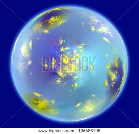 Abstract sphere resembling Earth planet with an atmosphere in space. Fractal art graphics