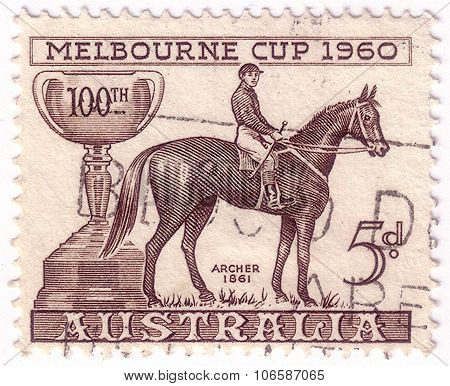 Australia - Circa 1961: A Stamp Printed In Australia Shows Image Of The Winner Of The 100Th Melbourn
