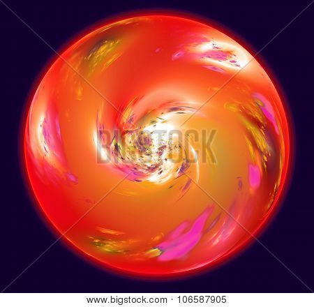 Abstract sphere resembling red planet with atmosphere in space. Fractal art graphics