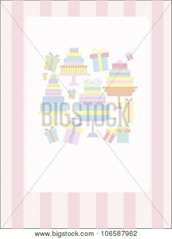 Sweet Vintage Card With A Lot Of Tiered Cakes On A Gentle Pink Striped Background