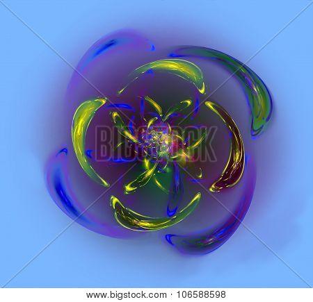 Abstract twist resembling flower. Fractal art graphics