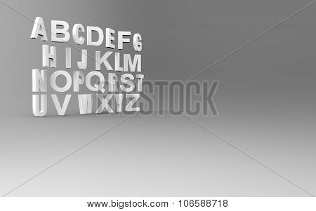 3D Font, Big White Letters Standing