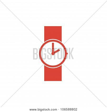 Wristwatch Icon. Flat Design Style.