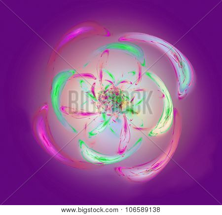Fractal flower ornate decorative spiral of vibrant lights. Abstraction-based fractal art graphics