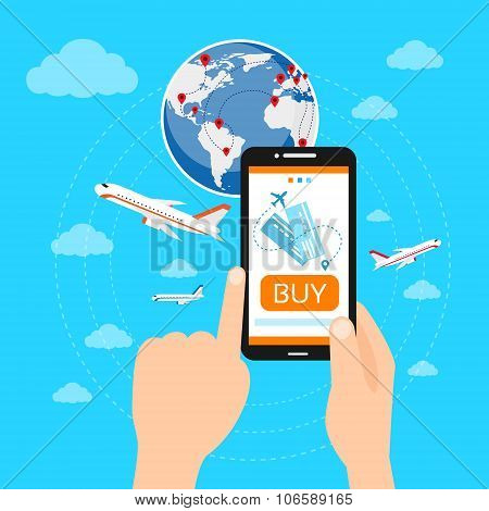 Buy Ticket Online Smart Phone Application Globe World Map Travel Vacation