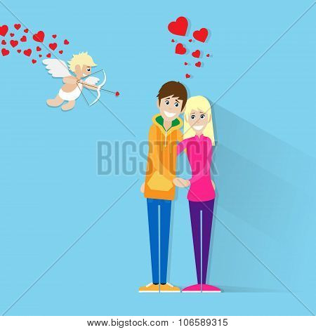 Valentine Day Holiday Couple Embrace Heart Shape Valentine's Angel