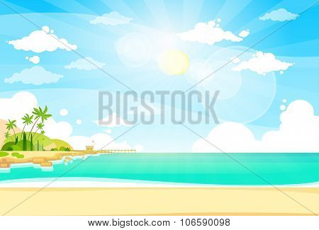 Sea Shore Sand Beach Summer Vacation Blue Sky