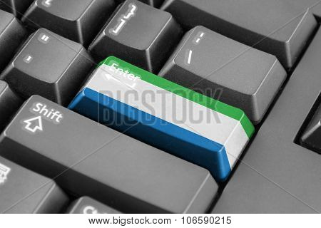 Enter Button With Sierra Leone Flag