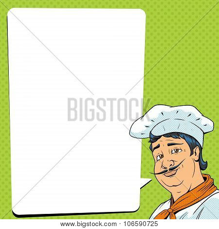 Chef show okay sign pop art style vector